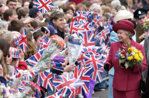 Queen And Flags And Flowers