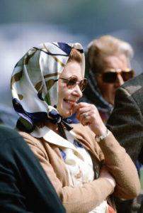 Queen Elizabeth II at the Royal Windsor Horse Show watching