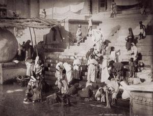Bathing At A Ghat In Benares