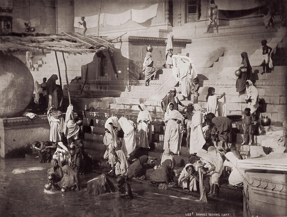 Bathing At A Ghat In Benares fine art photography