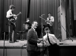 The Beatles pop group, during rehearsals in 1963.