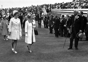 Queen with Princess Ann followed by QM