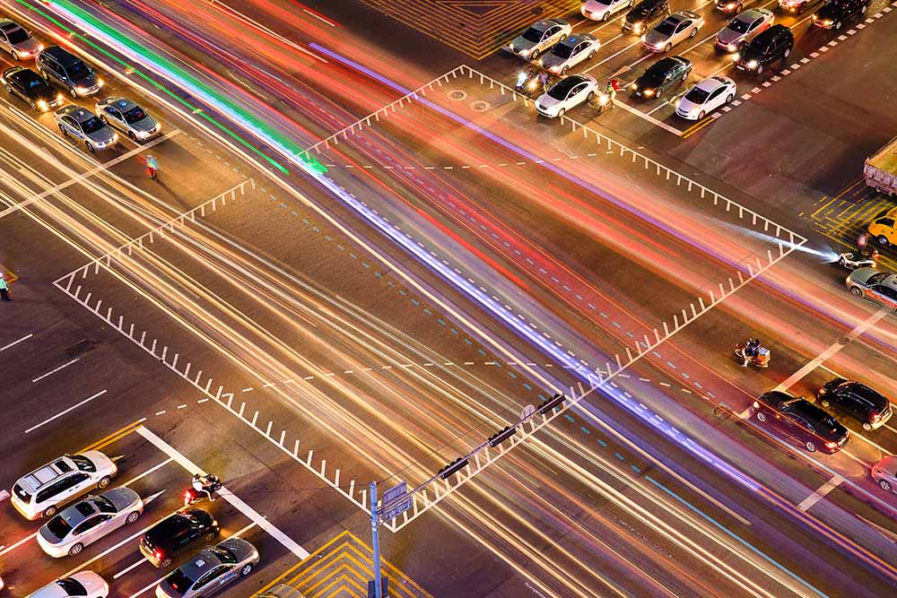 Traffic trails of intersection fine art photography
