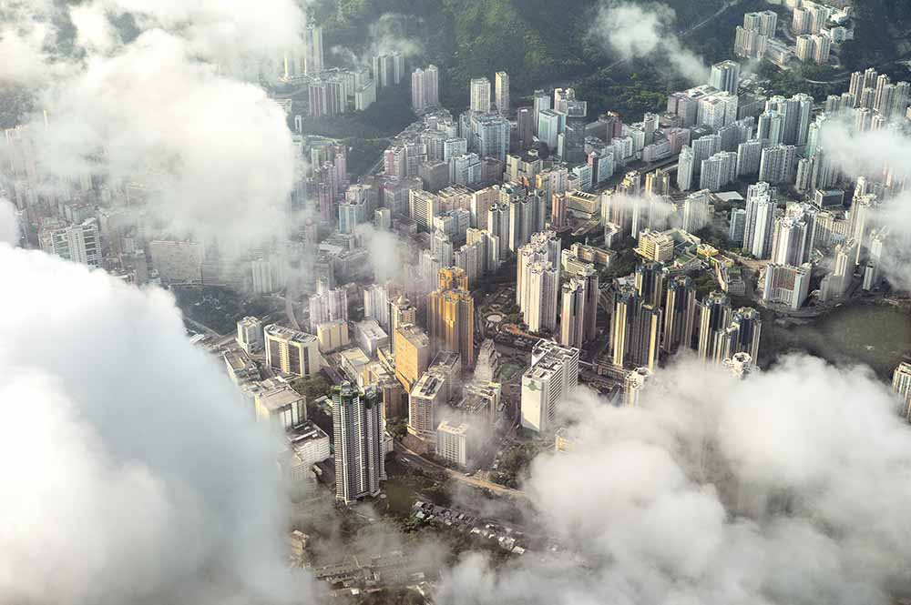 Aerial image of buildings in Hong Kong fine art photography