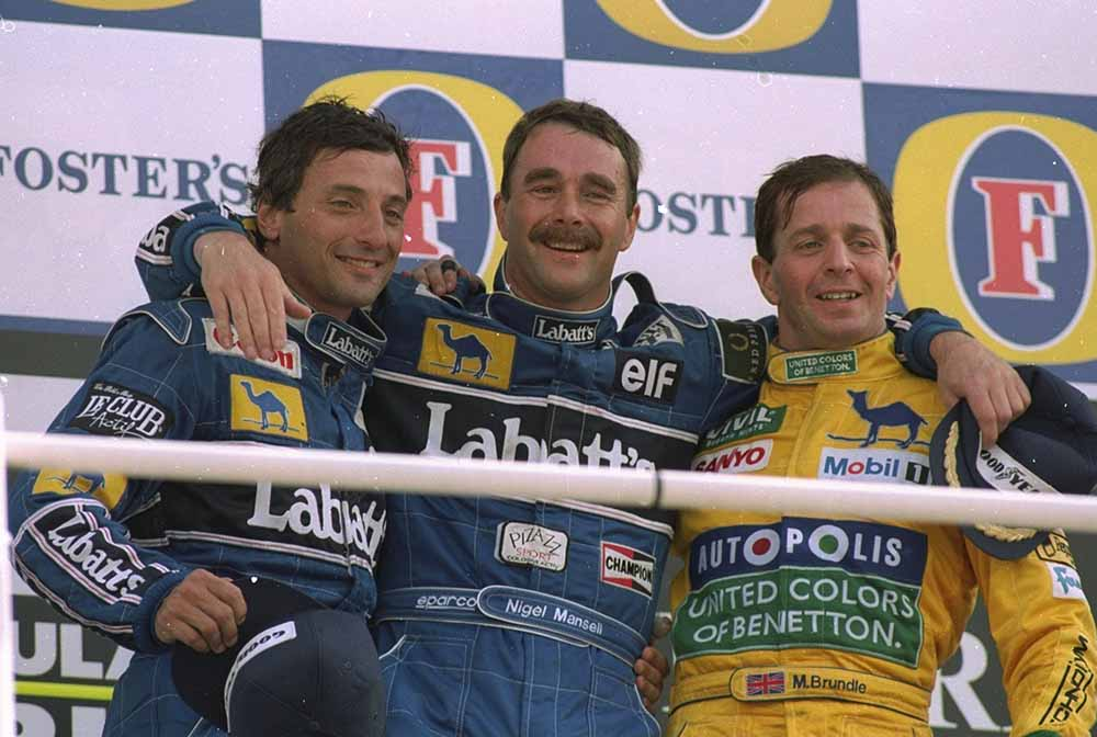 Riccardo Patrese, Nigel Mansell and Martin Brundle fine art photography