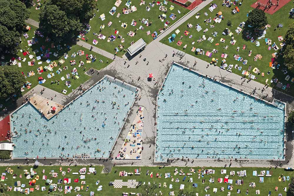 Crowded open air pools, aerial view fine art photography