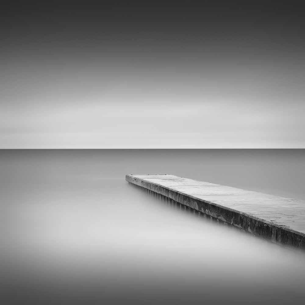 Monochrome long exposure jetty, Blyth UK fine art photography