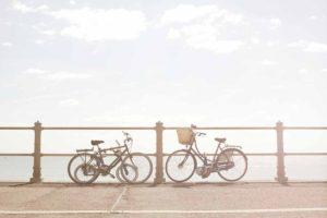 Bikes against beach railings