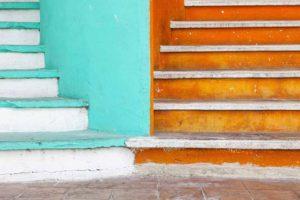 Mexico, Quintana Roo, Yucatan Peninsula, Isla Mujeres, Colorful steps
