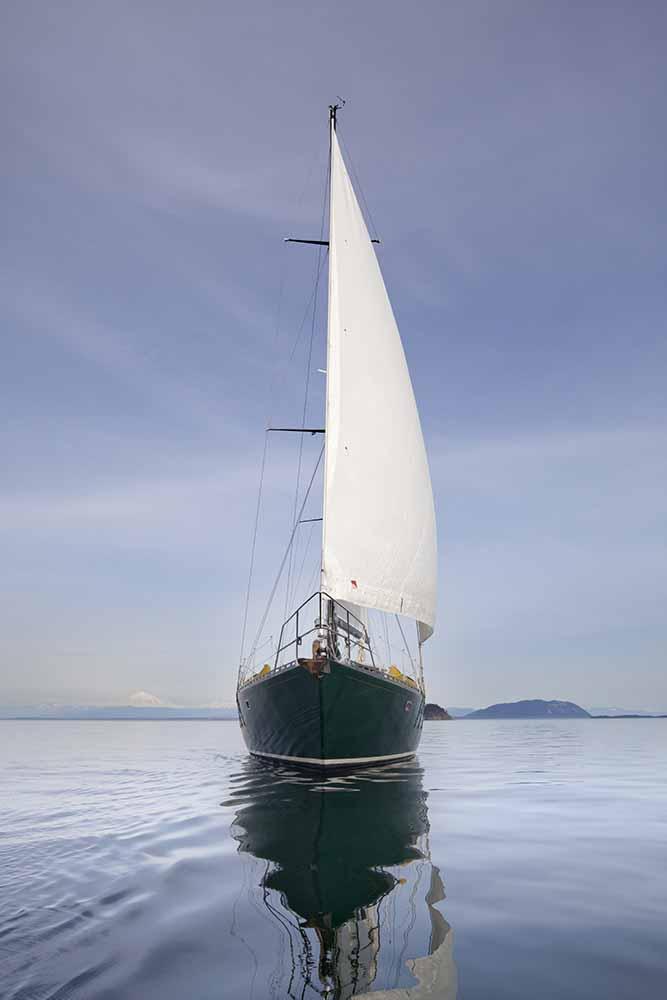 USA, Washington State, San Juan Islands, SV Nawalak reflecting in sea fine art photography