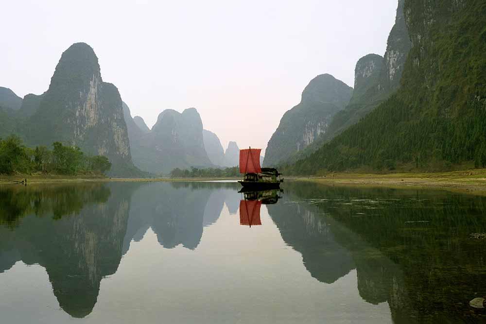 Fishing boat on Li River fine art photography
