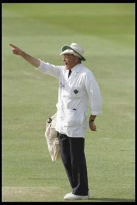 Umpire Dickie Bird gives his last decision