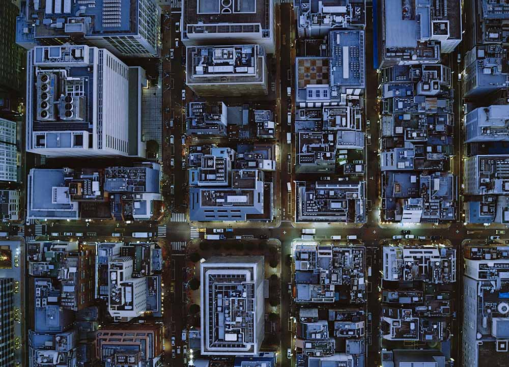 Ariel view of Ginza, Tokyo at night. fine art photography