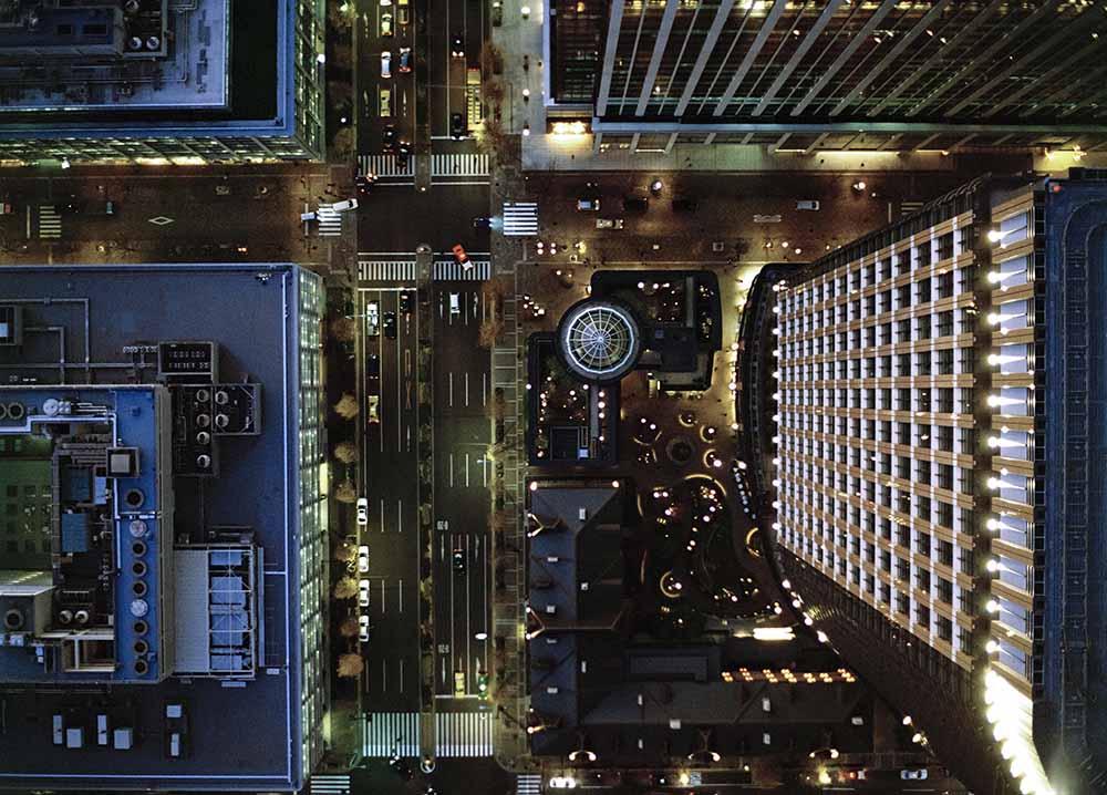 Ariel view of Marunouchi, Tokyo at night. fine art photography