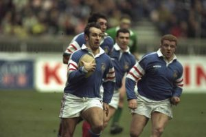 Philippe Saint-Andre of France runs with the ball