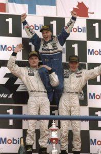 Jacques Villeneuve, David Coulthard and Mika Hakkinen