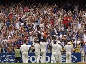 The Barmy Army salute the England team