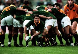 Joost Van Der Westhuizen of South Africa passes out of the scrum