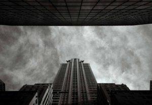 USA, New York, New York City, Chrysler Building, low angle view (B&W)