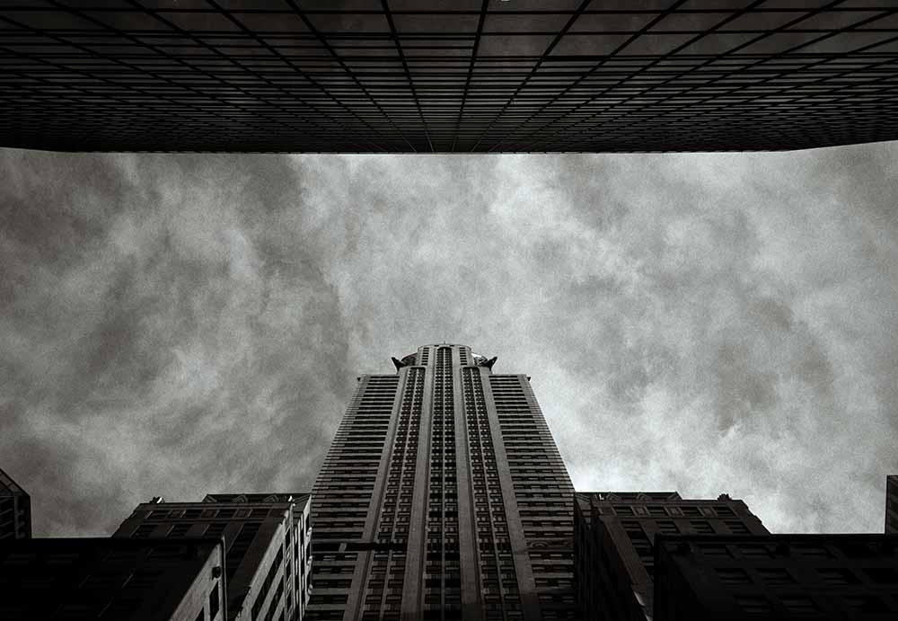 USA, New York, New York City, Chrysler Building, low angle view (B&W) fine art photography