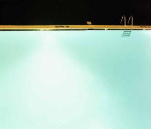 Illuminated swimming pool, elevated view