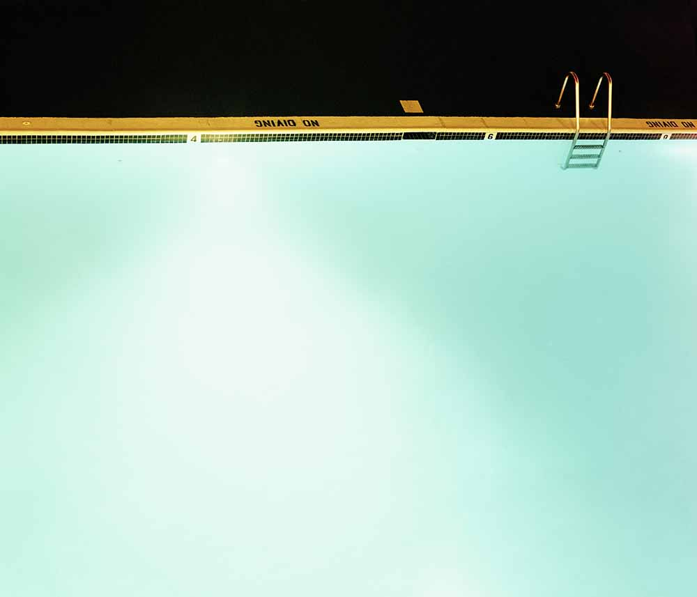 Illuminated swimming pool, elevated view fine art photography