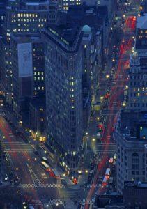 USA, New York City City, intersection, dusk (long exposure)