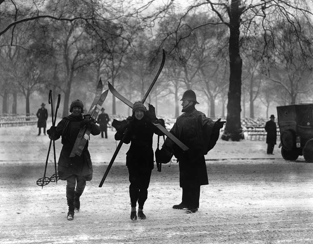 Skiers In Park fine art photography