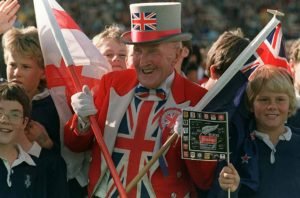 Rugby supporter Ken Baily of England cheers during