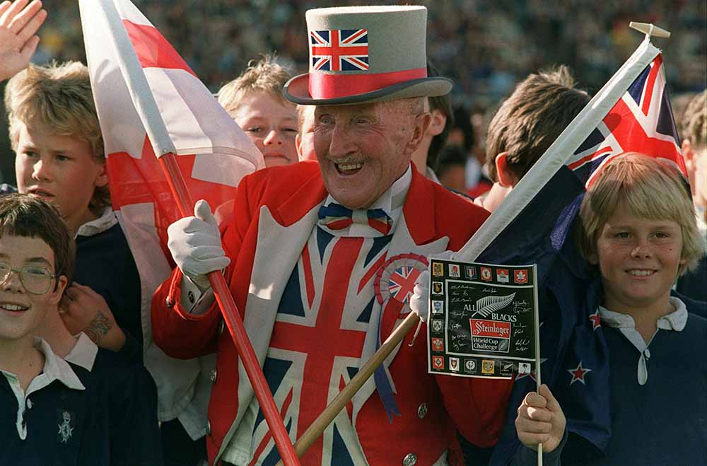 Rugby supporter Ken Baily of England cheers during fine art photography