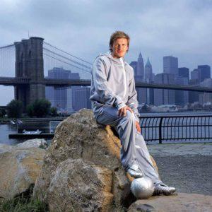 David Beckham at Brooklyn Bridge