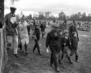 Sport, Equestrian, Gloucestershire, England, 25th April 1971, Badminton Horse Trials, Queen Elizabeth II of Great Britain and her husband Prince Philip are pictured with the royal children L-R: Prince Andrew, Viscount Linley, Prince Edward, and Lady Sarah