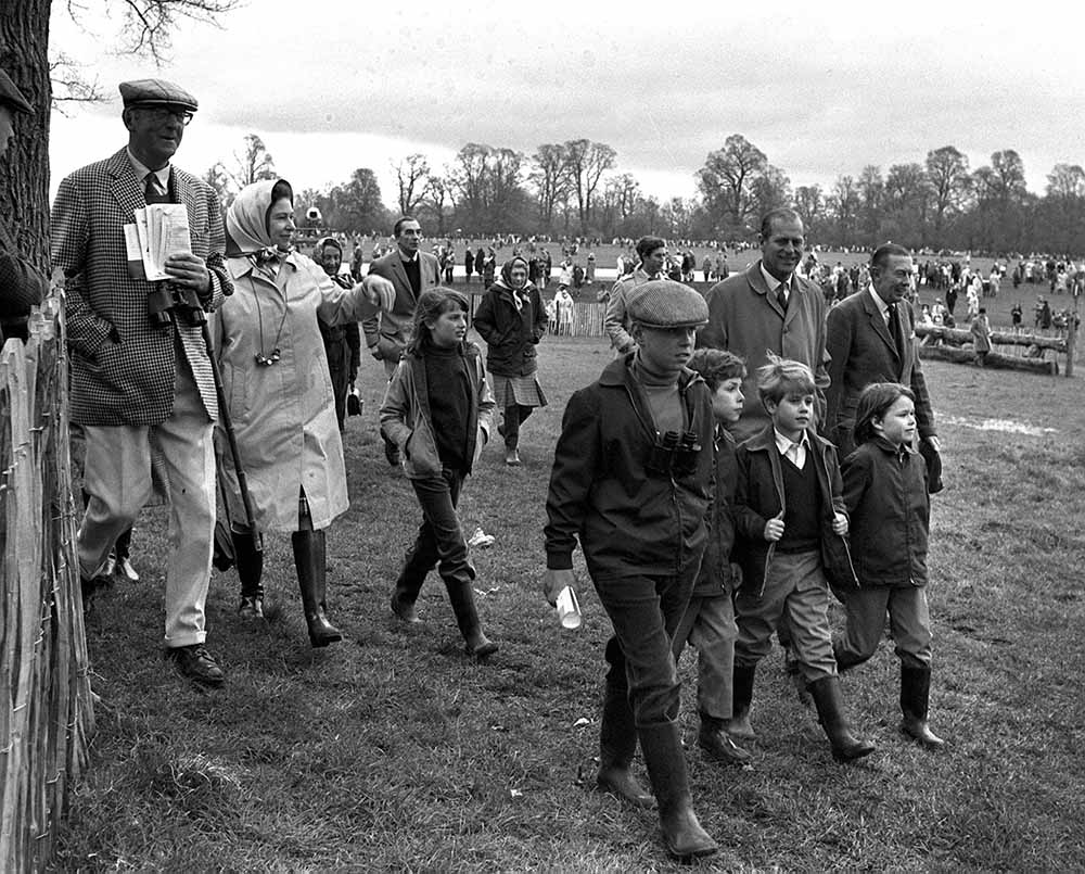 Sport, Equestrian, Gloucestershire, England, 25th April 1971, Badminton Horse Trials, Queen Elizabeth II of Great Britain and her husband Prince Philip are pictured with the royal children L-R: Prince Andrew, Viscount Linley, Prince Edward, and Lady Sarah fine art photography