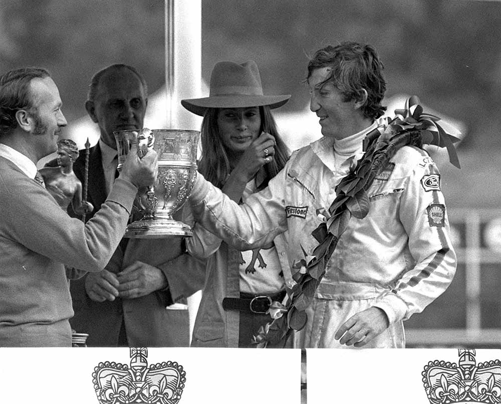 Sport, Motor-Racing, Brands Hatch, England, 18th July 1970, Formula One, British Grand Prix, Lotus Chief Colin Chapman (left) presents Austria's Jochen Rindt with the trophy following his victory fine art photography