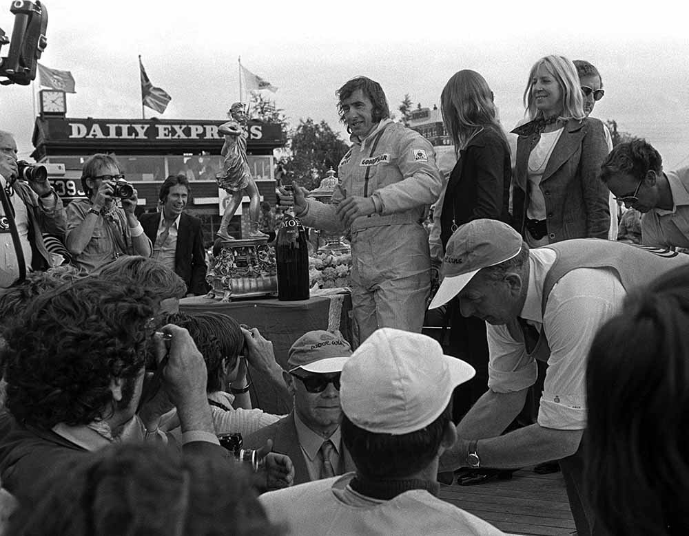Sport, Formula One Motor Racing, British Grand Prix, Northamptonshire, England, 17th July 1971, Scotsman Jackie Stewart celebrates after winning the race in his Tyrrell-Ford car at Silverstone fine art photography