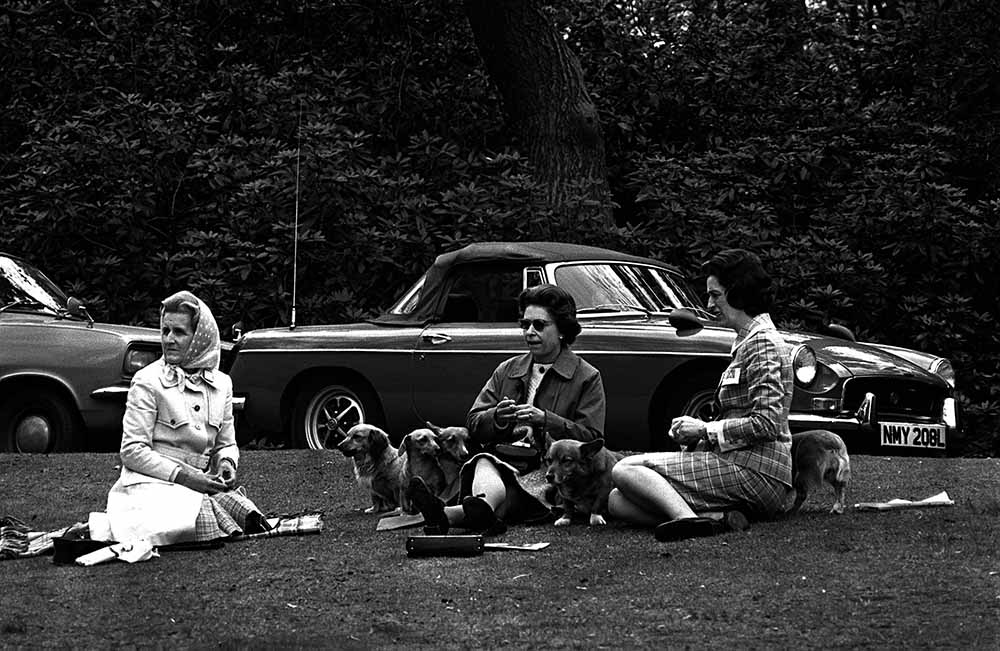 12th May, 1973 H,M, Queen Elizabeth II relaxes surrounded by her pet corgi dogs as she watches a horse competition at Home Park, Windsor from Equestrian fine art photography