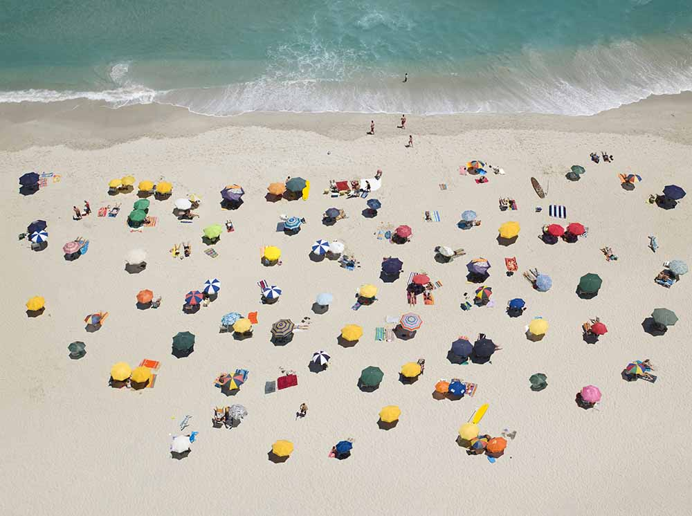 Umbrella pattern on beach fine art photography
