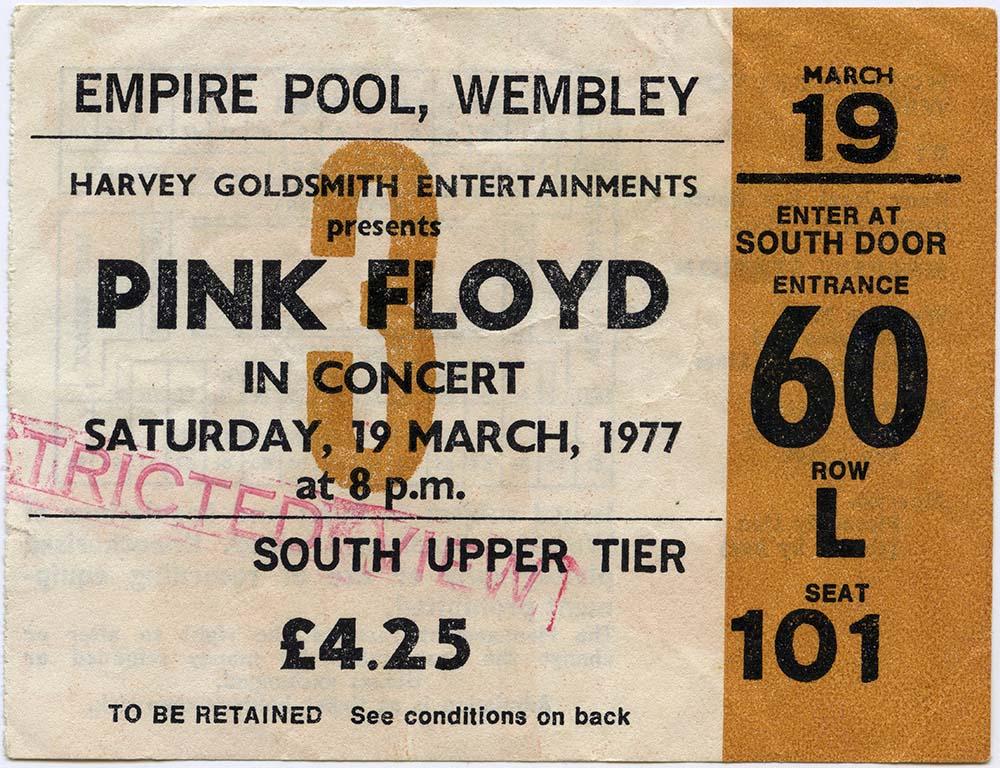 Pink Floyd Concert Ticket fine art photography