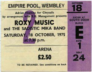 Roxy Music Concert Ticket