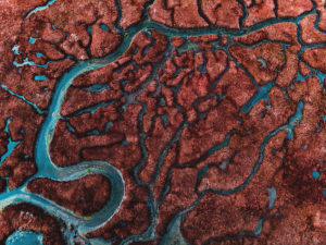Beautiful pattern created by river delta taken from above.