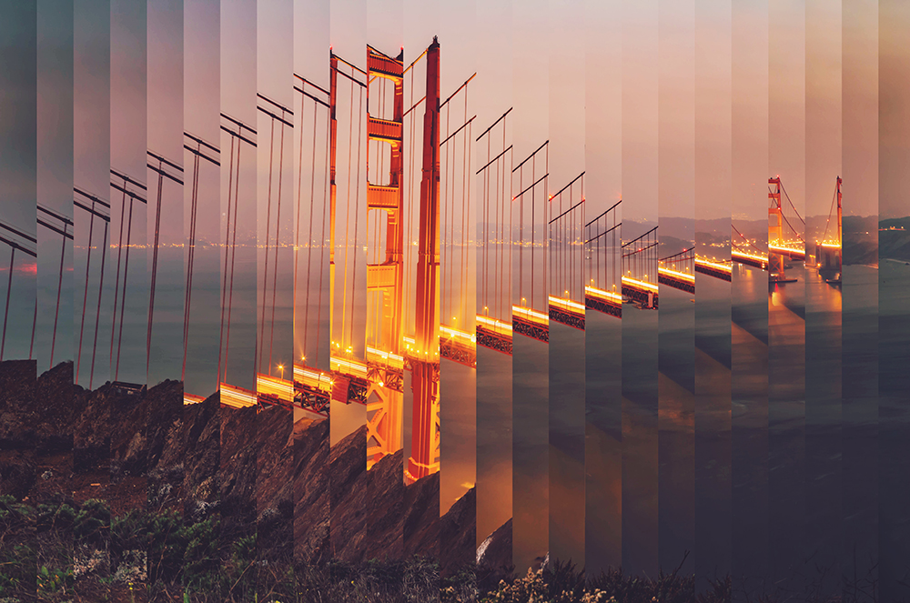 Surreal rearranged strips picture of the Golden Gate bridge at dusk with cool effect. fine art photography