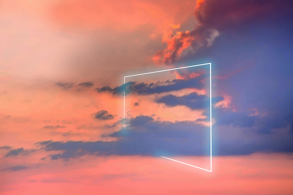 Poetic neon square light between the clouds in beautiful sunset sky. fine art photography