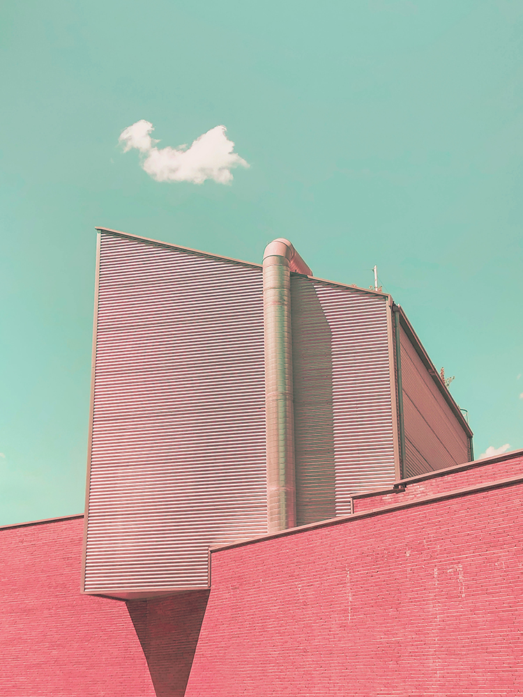 Surreal minimal architecture with geometric volumes and psychedelic colors. fine art photography