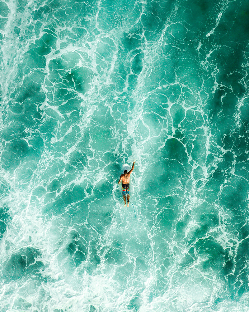 High Angle View Of Man Swimming In Sea fine art photography