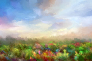 Summer meadow, oil painting