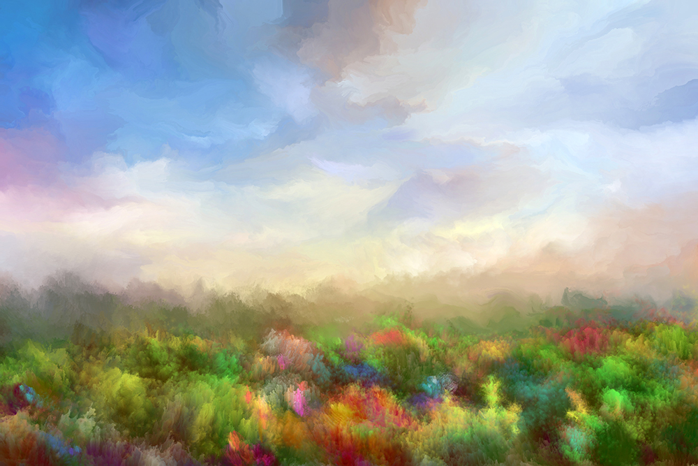 Summer meadow, oil painting fine art photography