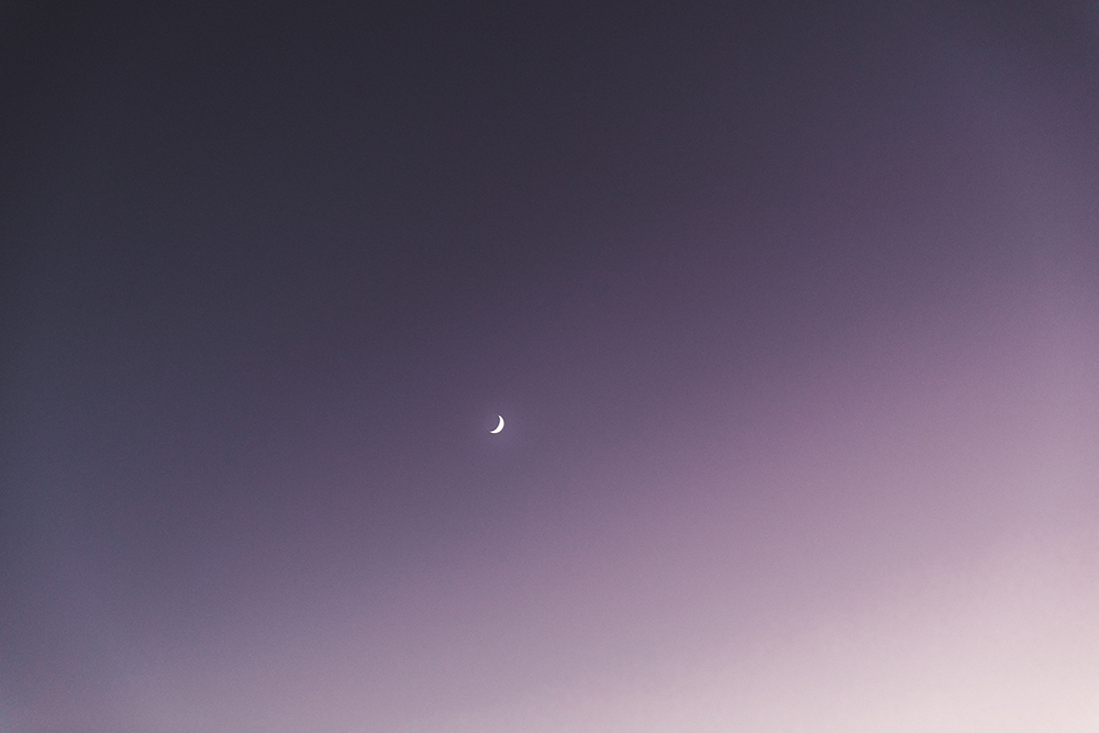 Half moon on the pink rose sky in Northern France fine art photography
