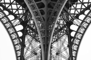 Detail of the legs of the Eiffel Tower, Paris, France.