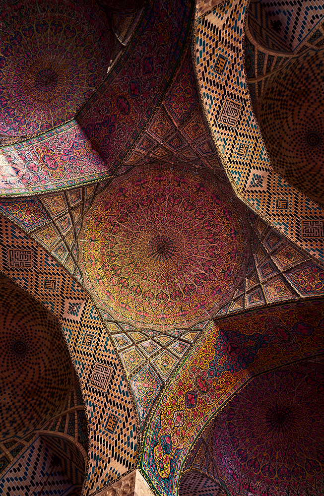 Detail of the ceiling tilework decoration in Pink Mosque fine art photography