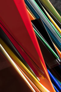 Abstract work of multi colored acrylic boards